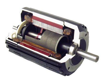 Bodine Type 34B Brushless DC Motor (cutaway view)