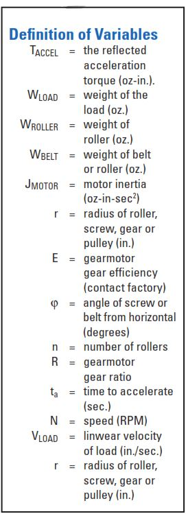 Bodine gearmotors for conveyors -- Definition of Variables 11/2013