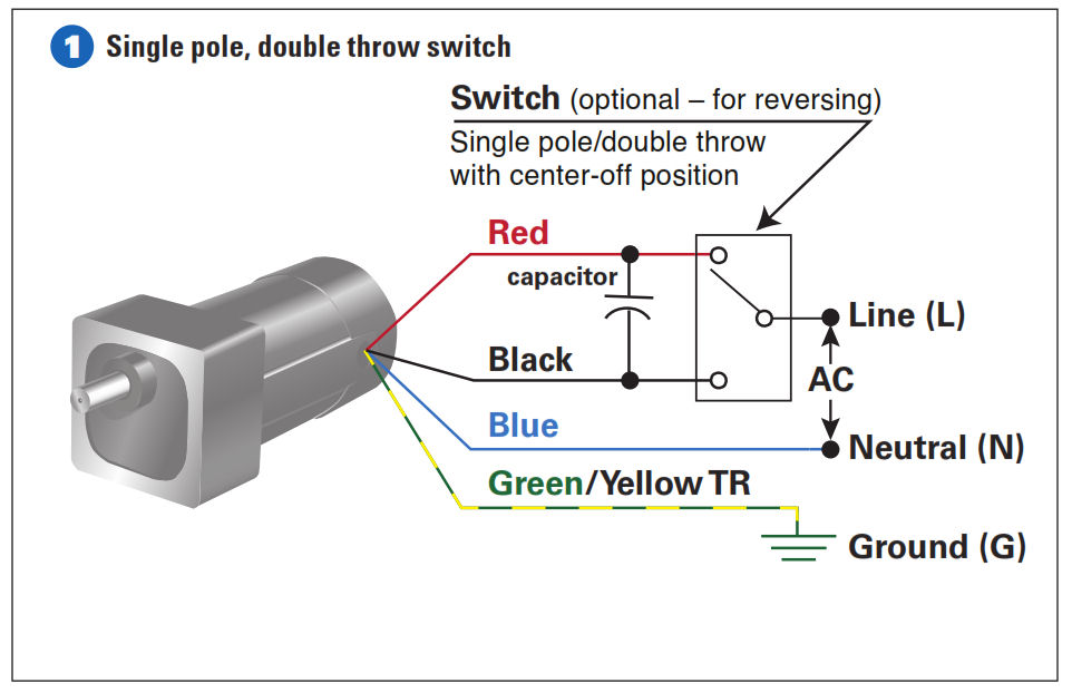 How to connect a reversing switch to a 3 or 4 wire psc gearmotor example 1 how to connect the single pole double throw switch swarovskicordoba Images
