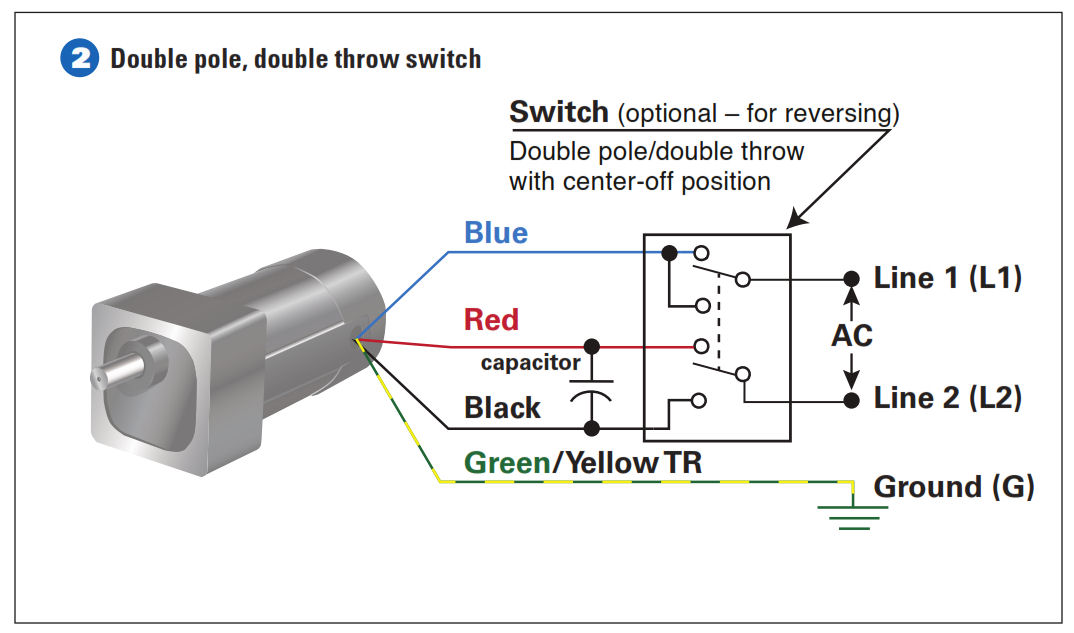 how to connect a reversing switch to a 3 or 4 wire (psc) gearmotor single pole light switch diagram example 2 connect the double pole, double throw switch