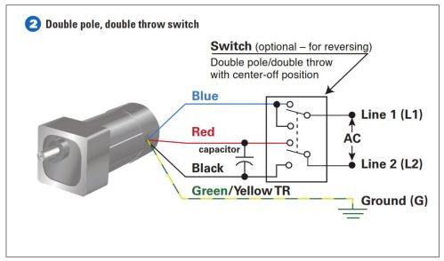 How to connect a reversing switch to a 3 or 4 wire psc gearmotor example 2 connect the double pole double throw switch asfbconference2016 Choice Image