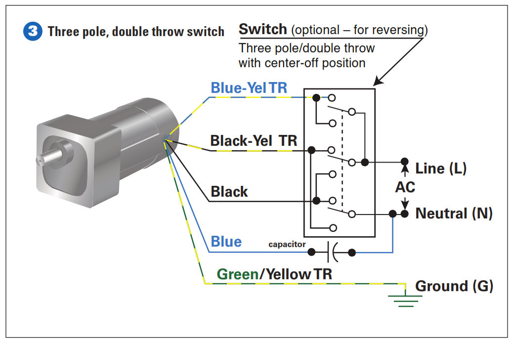 how to connect a reversing switch to a 3 or 4 wire (psc) gearmotor Westinghouse Electric Motor Wiring Diagram 4 Wire