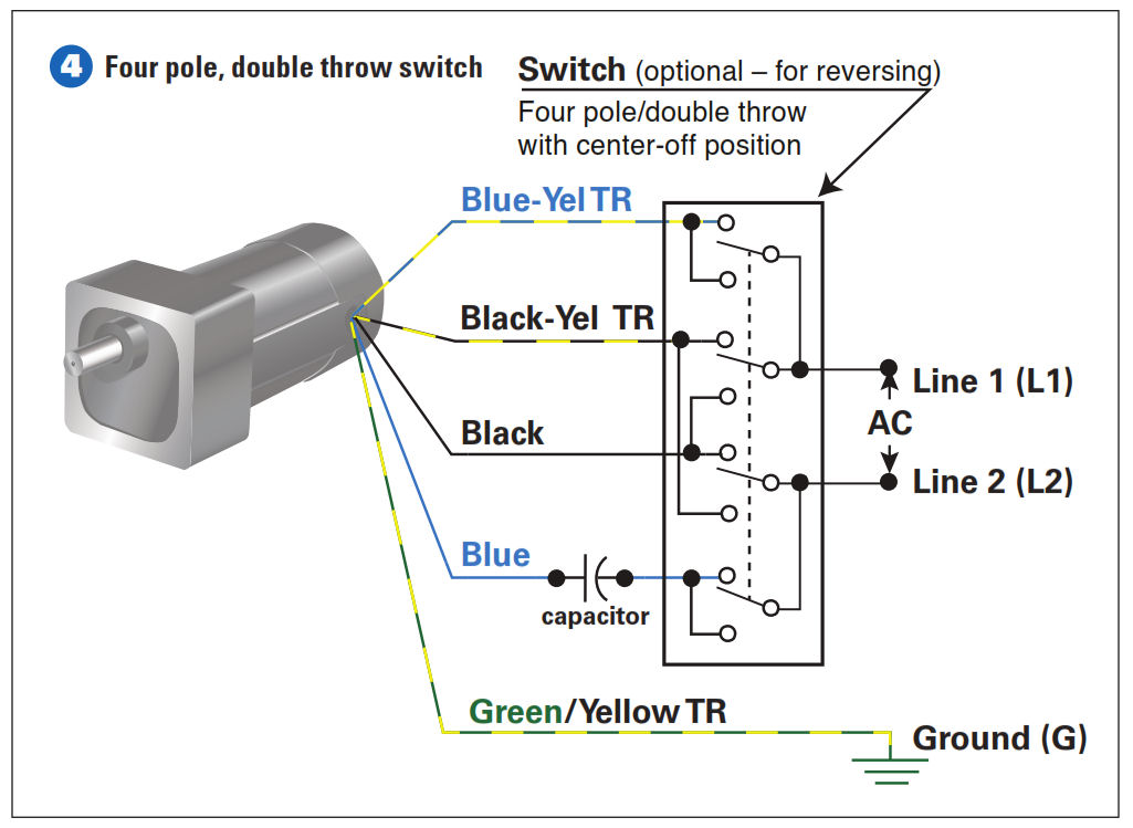 how to connect a reversing switch to a 3 or 4 wire psc gearmotor rh gearmotorblog wordpress com AC Motor Connections Single Phase Motor Wiring Diagrams