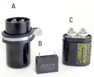 Fig. 2-15: Examples of AC motor run and start capacitors  a) electrolytic type (used as start capacitors for larger, >1HP, motors, and when high capacitance values are required); b) plastic type (will often fit into a motor terminal box); c) large metal can type capacitor (typically used with higher voltage windings; often mounted to the motor frame)