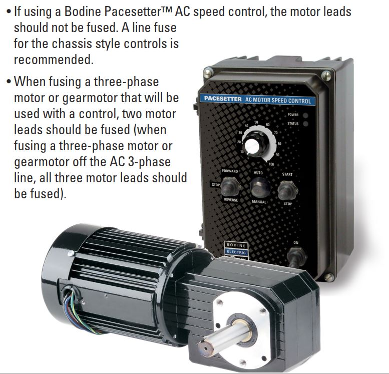 Sizing a fuse for a bodine gearmotor motor or speed for Speed control of ac motor